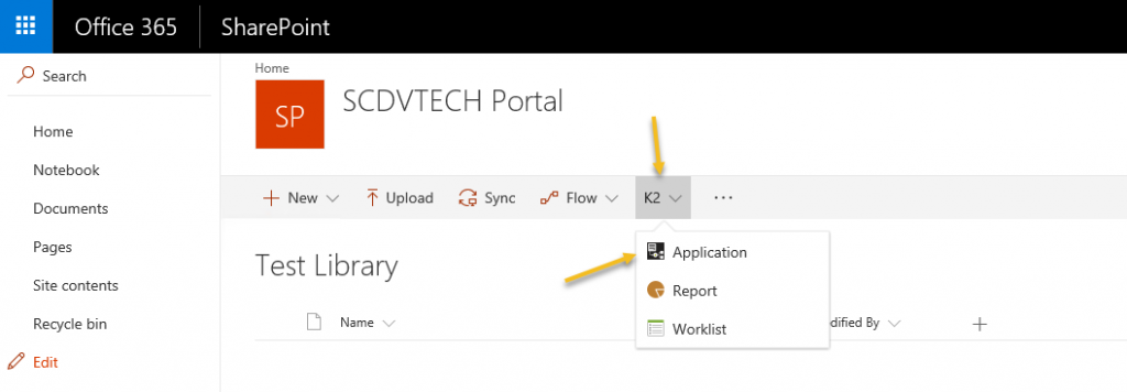 SharePoint library - application