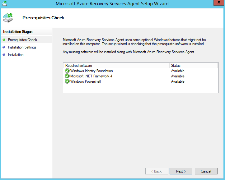 Microsoft Azure Recovery Services Agent Setup Wizard