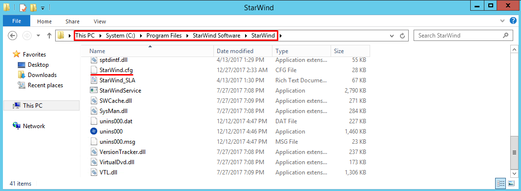 Default location of StarWind.cfg file