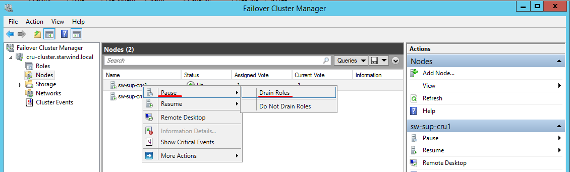 Draining roles from a Windows Failover Cluster node