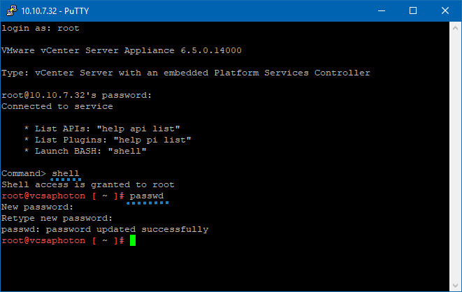 VMware vCSA - Change password via console