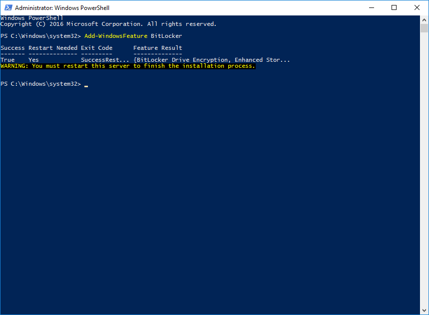 Enabling the BitLocker feature in Windows via PowerShell