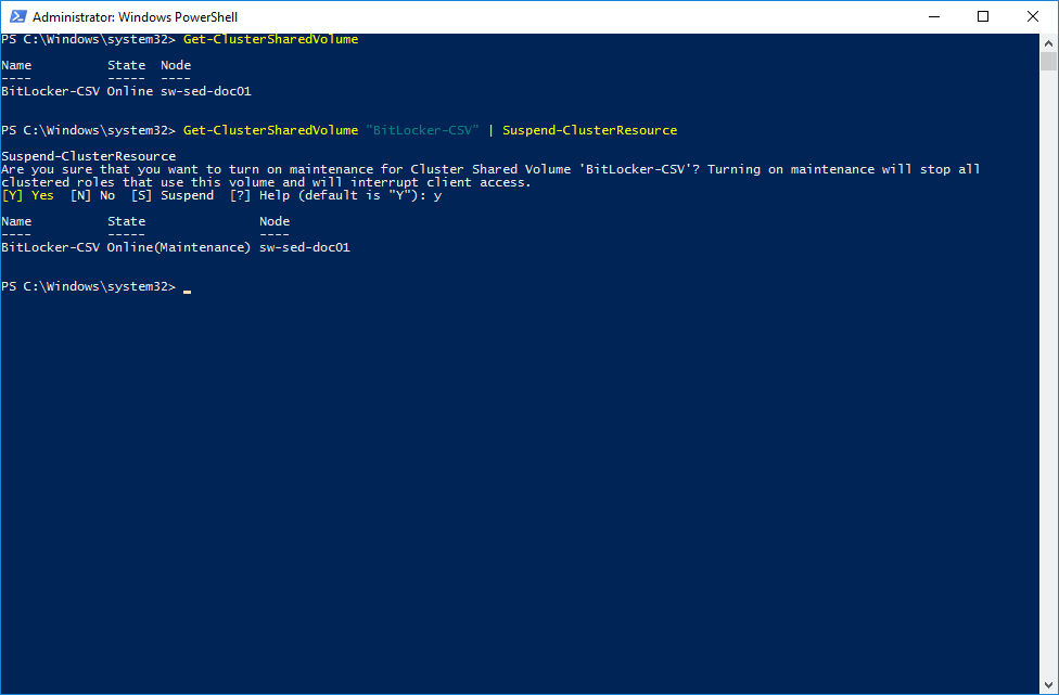 Enabling the Maintenance Mode for a specific Cluster Shared Volume via PowerShell