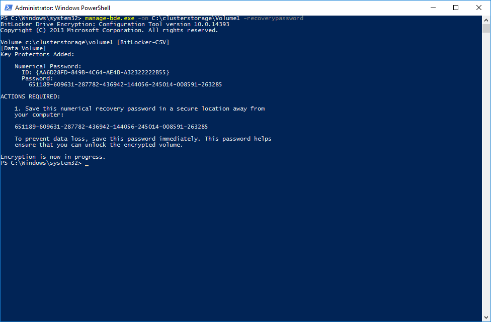 Enabling BitLocker on the CSV device via PowerShell