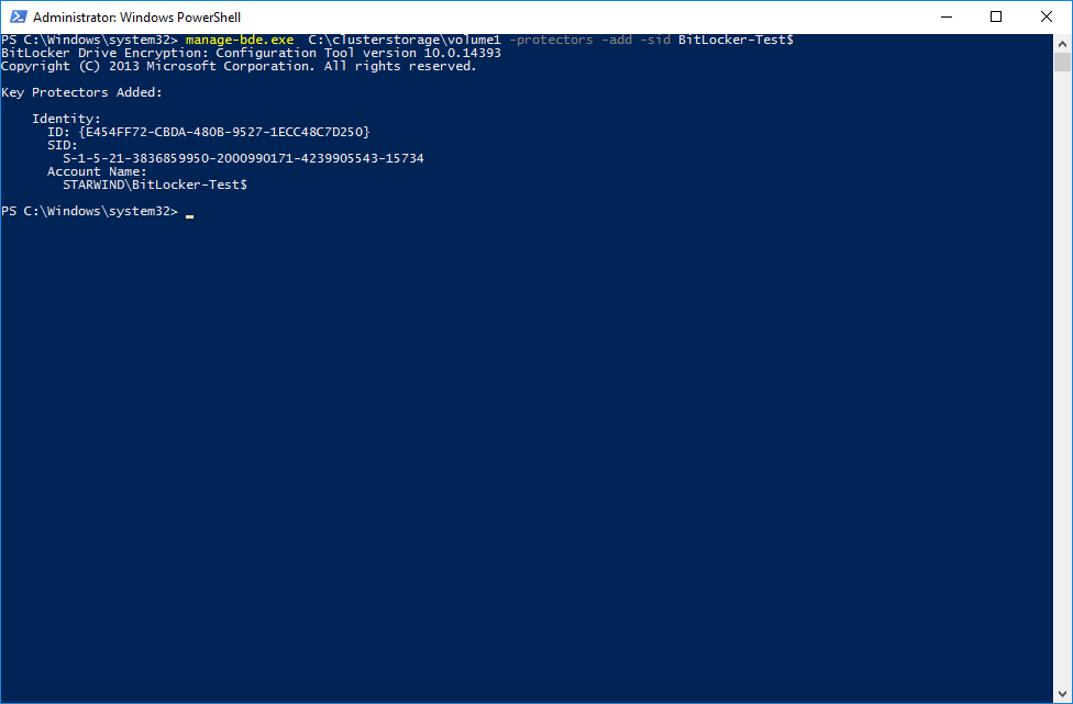 Enabling access to the encrypted CSV for the Cluster via PowerShell