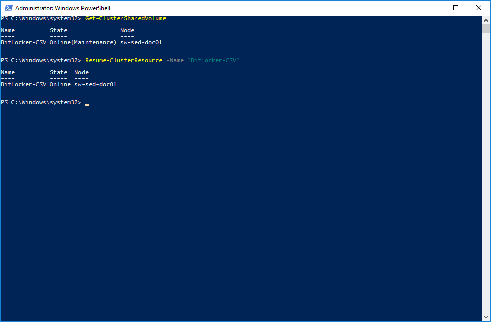 Getting cluster shared volume name and state. Turning off the Maintenance Mode via PowerShell