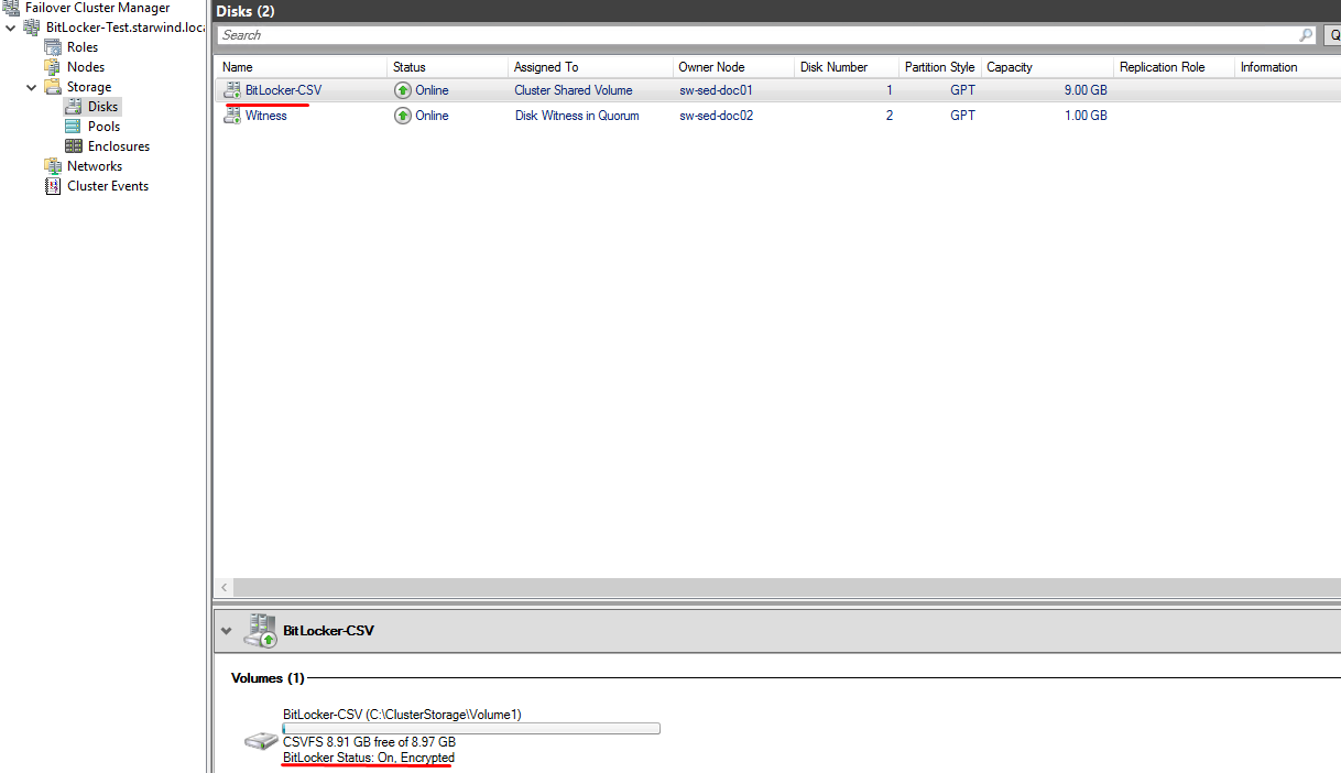 Checking Failover Cluster Manager to make sure that the CSV has been encrypted