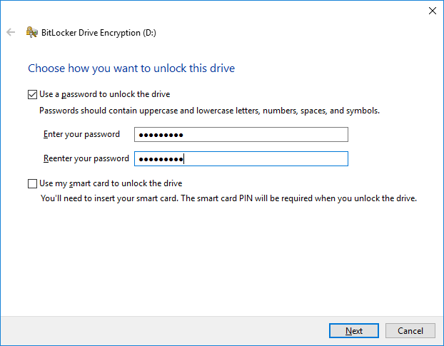 BitLocker Drive Encryption - Use a password to unlock the drive