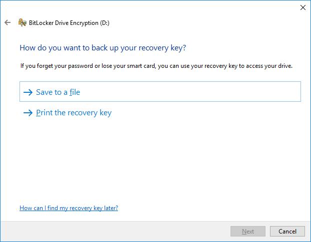 Backup a recovery key