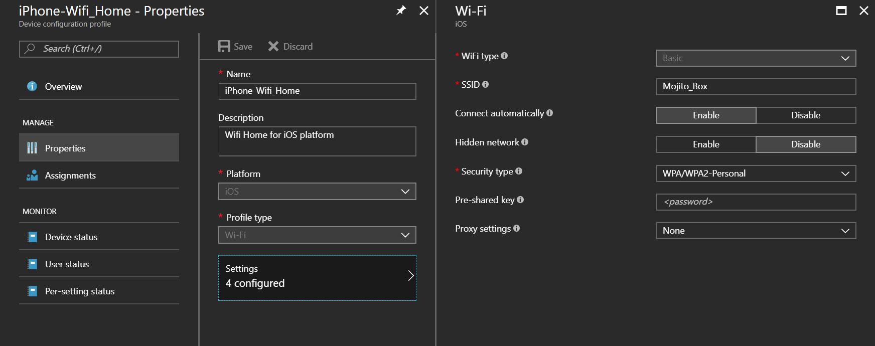 Device configuration tab