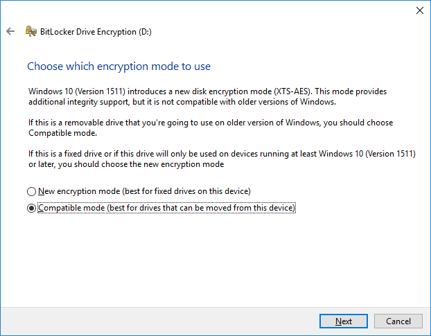 BitLocker Drive Encryption - Compatible mode