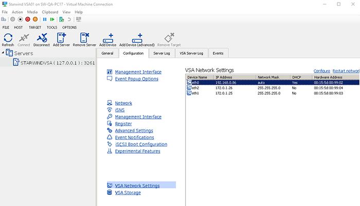VSA Network Setting - get IP address