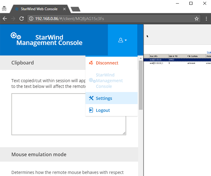 StarWind Management Console - Settings