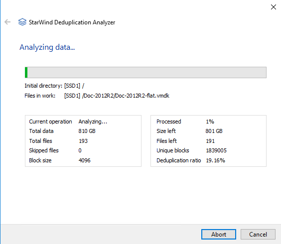 StarWind Deduplication Analyzer - Deduplication analysis running