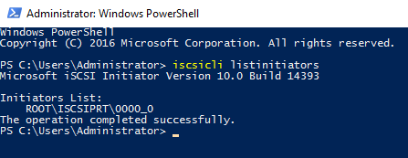Listing iSCSI initiators using CMD or PowerShell