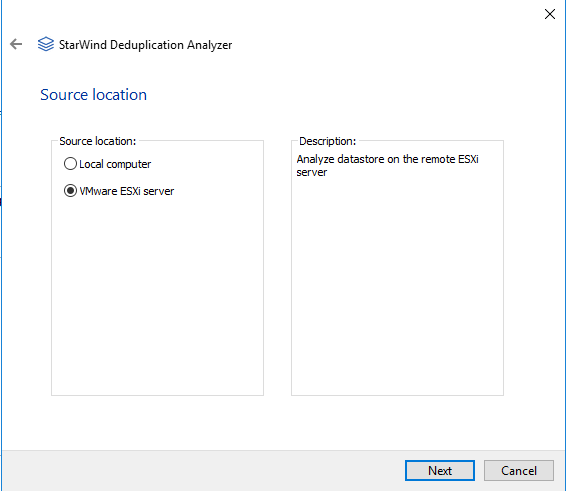 StarWind Deduplication Analyzer - Selecting target storage for analysis