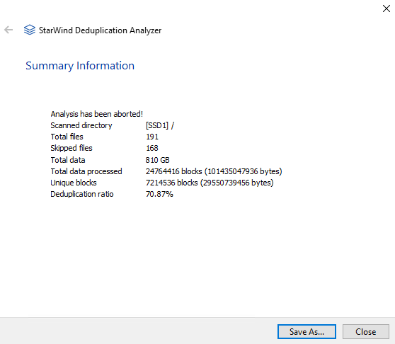 StarWind Deduplication Analyzer - Statistics of deduplication analysis completed