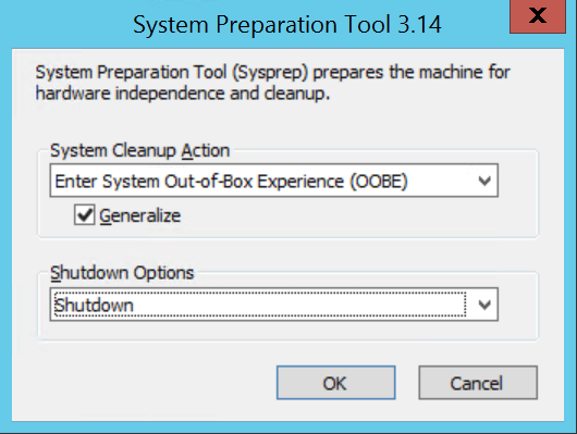 system preparation with the following setting