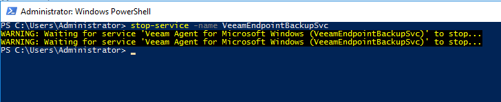 replacing a Veeam Agent for Windows Server while preserving existing local backups - shutting down the VAW service