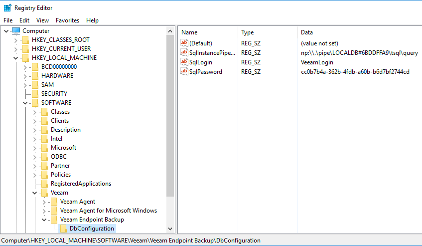replacing a Veeam Agent for Windows Server while preserving existing local backups - SQL password