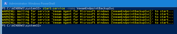 starting Veeam Agent for Microsoft Windows service