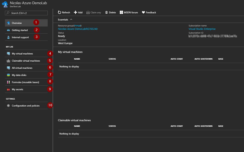 Azure Portal - Create DevTest Labs - DemoLab