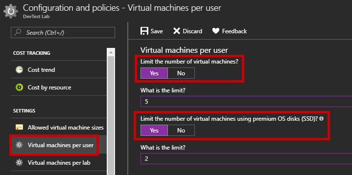 Configure the DevTest Lab - Virtual Machines per user