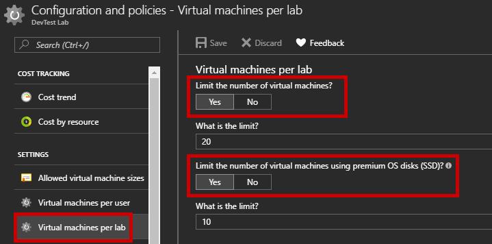 Configure the DevTest Lab - Virtual Machines per lab