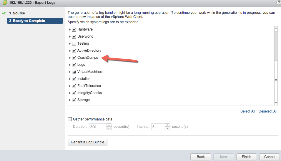 Retrieve The Support Bundle For Vcenter Servers And Vmware