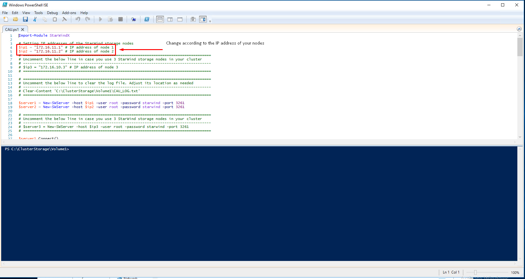 PowerShell window with a script.