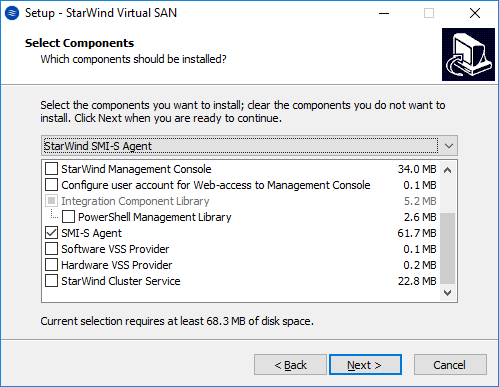 Configuring SMI-S agent in StarWind VSAN - Select Components