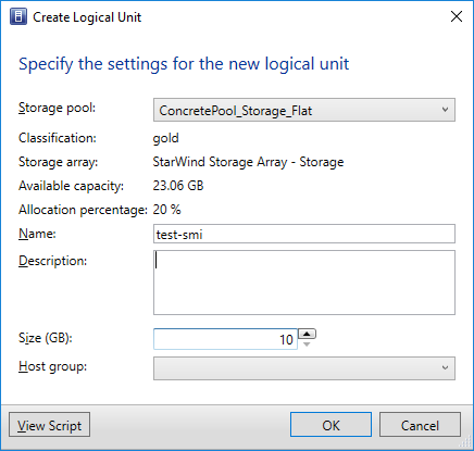Manage StarWind VSAN storage from SCVMM using SMI-S - Create Logical Unit