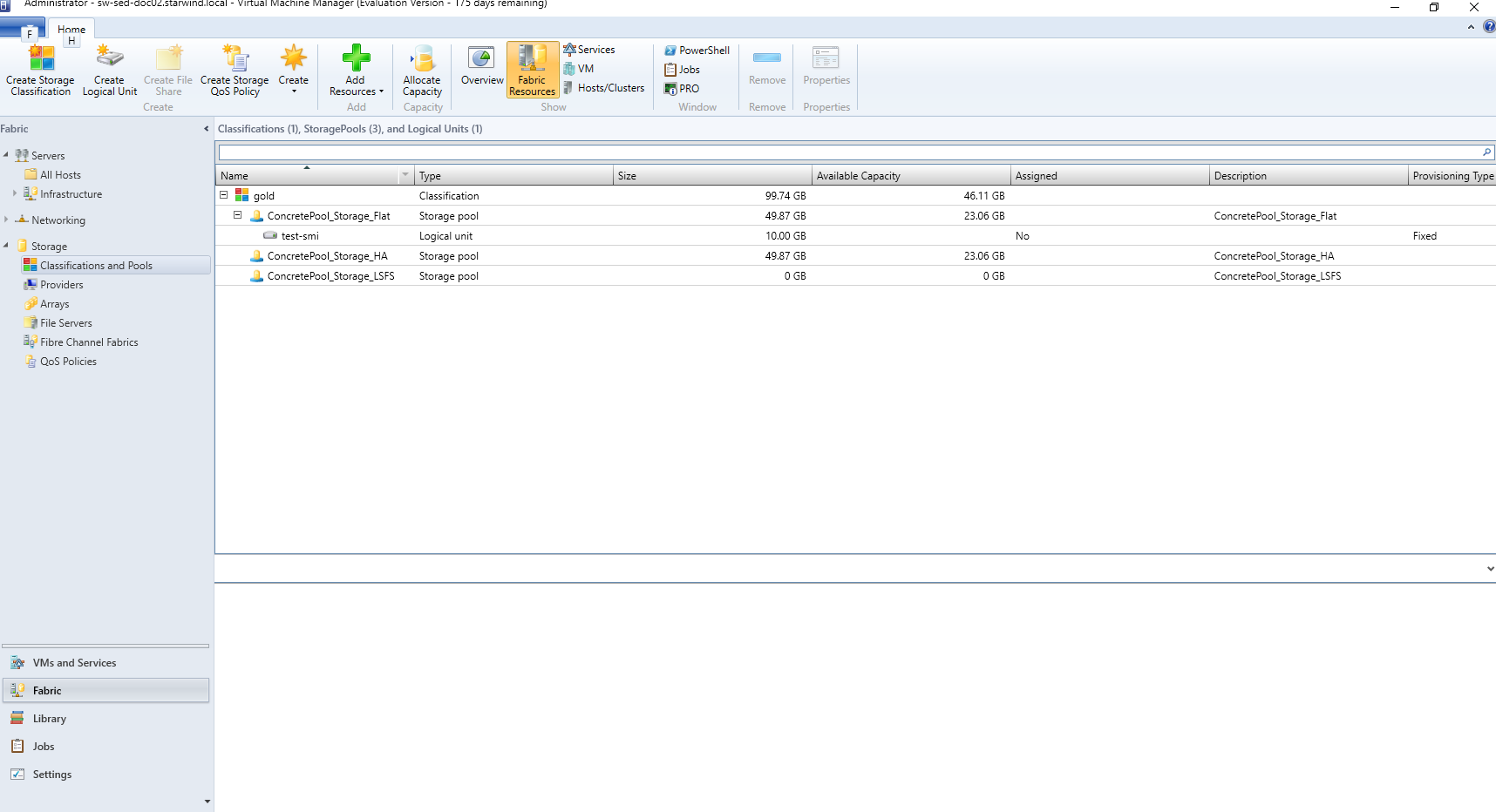 Manage StarWind VSAN storage from SCVMM using SMI-S - newly created Logical Unit
