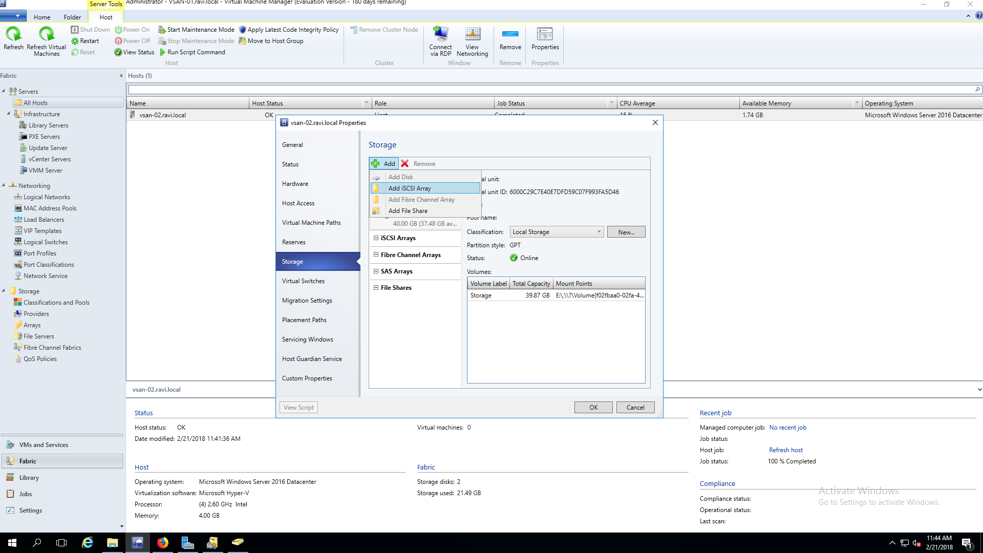 Manage StarWind VSAN storage from SCVMM using SMI-S - Configuration iSCASI Array