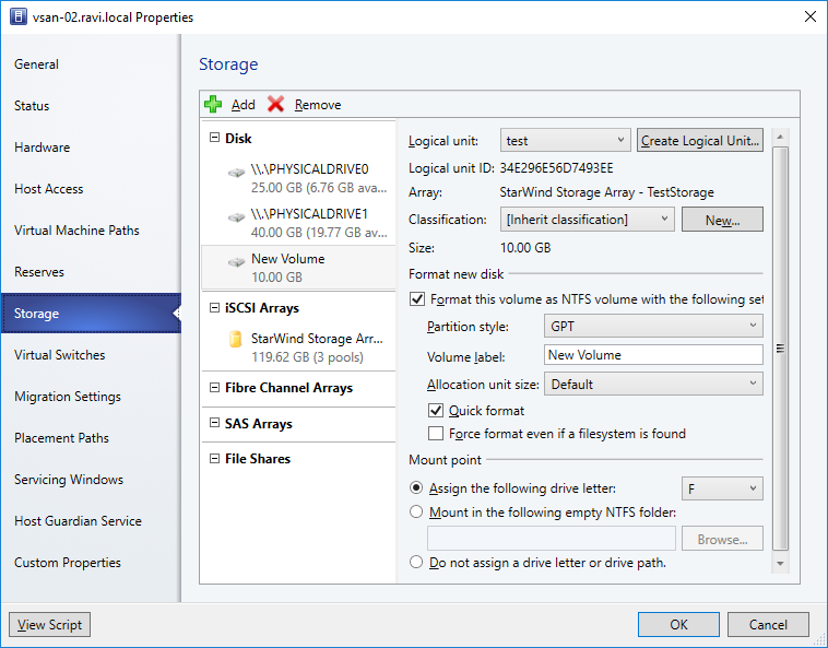 Manage StarWind VSAN storage from SCVMM using SMI-S - new logical volume for our StarWind device