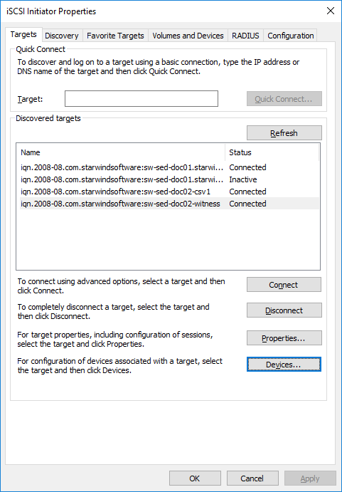 Connecting targets via iSCSI Initiator