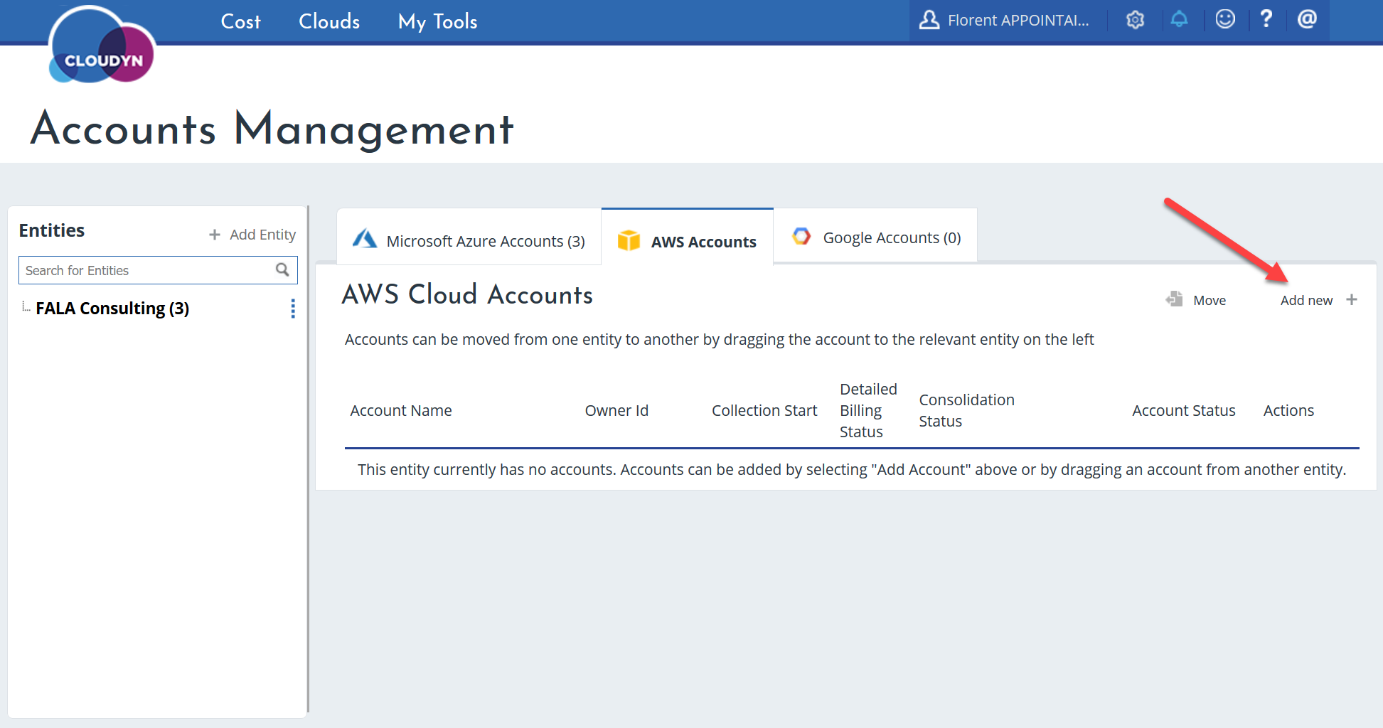 Cloudyn new AWS account