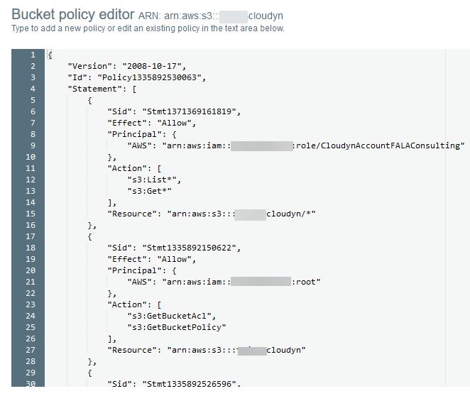 AWS account - Bucket Policy Editor