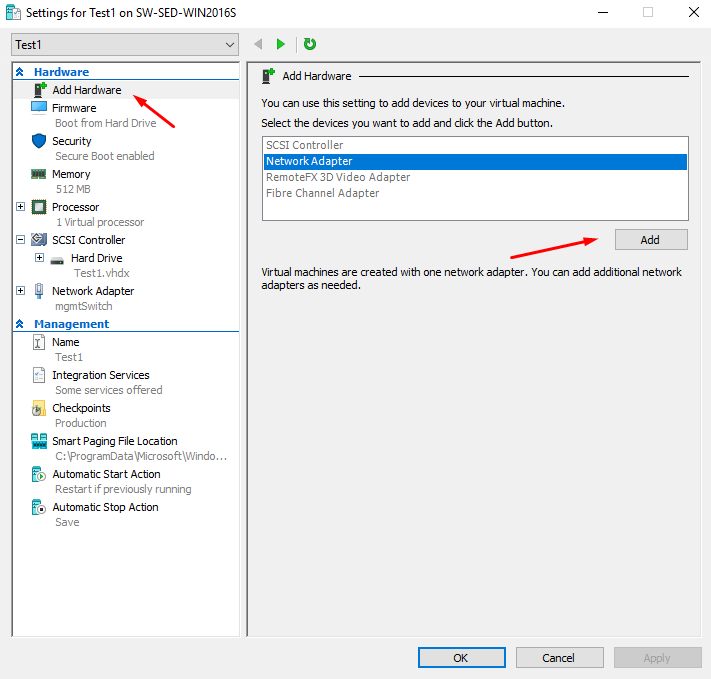 Adding a NIC to a Hyper-V VM