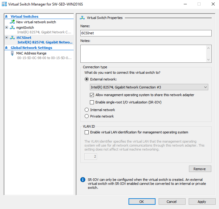Configuring a Hyper-V switch