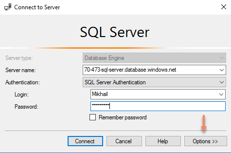 SQL Server - Connect to server