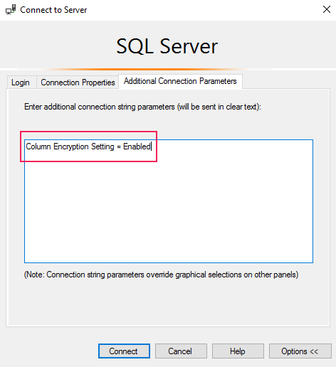 SQL Server - Additional Connection Parameters tab and type in Column Encryption Setting = Enabled