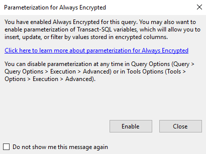 Parameterization for Always Encrypted