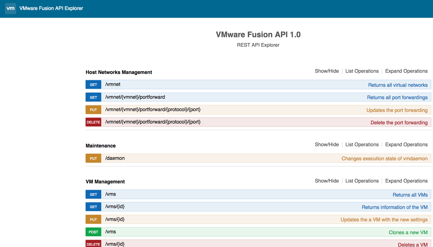 VMware Fusion API 1.0 - Checking all available operations