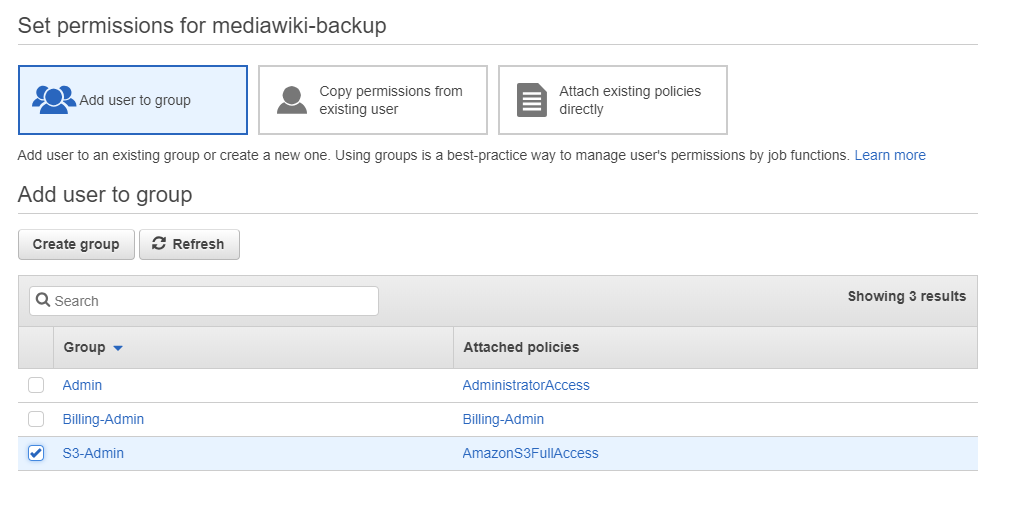 Using the AWS cli to backup to AWS from a remote server