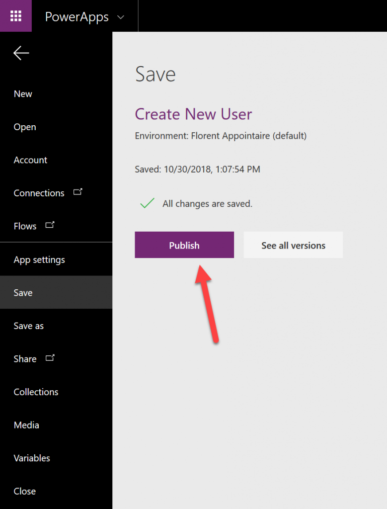 PowerApps save new user