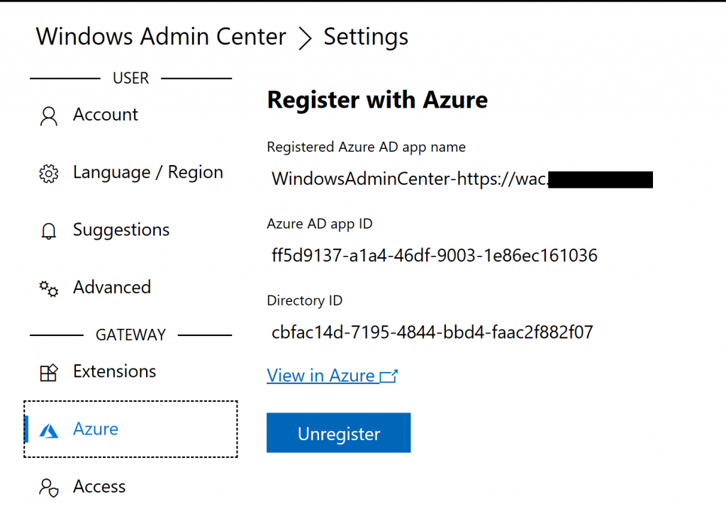 Register Windows Admin Center to Azure tenant