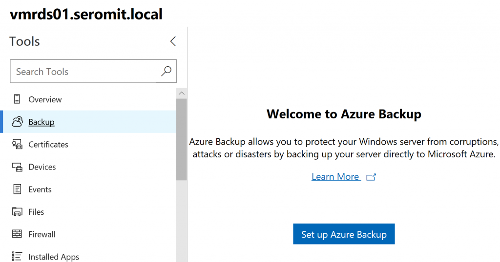 Configure Azure Backup