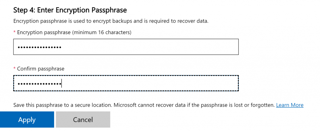 encryption passphrase