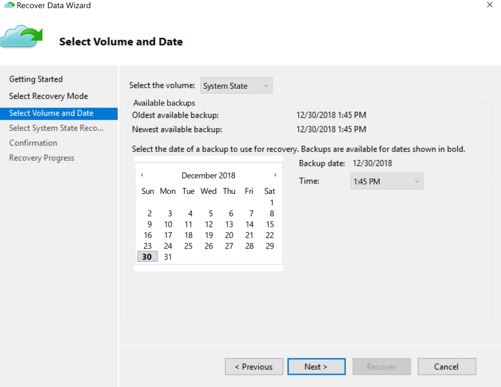 Recover Data Wizard Volume and Data